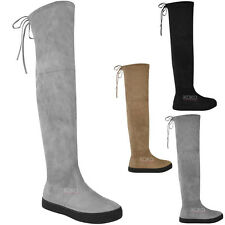 Womens Ladies Over The Knee Flat Thigh High Boots Low Heel Lace Up Slouch Size