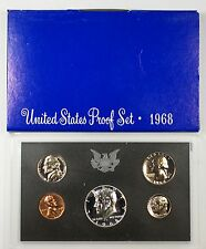 1968 US Mint Proof Set 5 Gem Coins 40% Silver Half w/ Box
