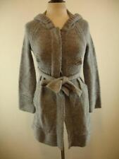 Womens S Free People Gray Knit Wool Blend Cardigan Long Sweater Coat Belted Hood