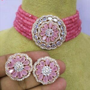 Indian Bollywood Gold Plated AD CZ Kundan Choker Necklace Wedding Bridal Jewelry
