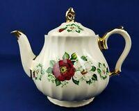 Vintage Sadler England China Swirl Tea Pot Red and White Roses Gilt Gold 2755