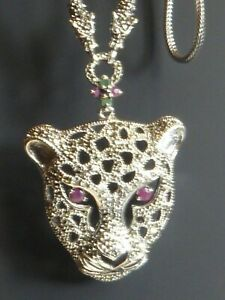 SILVER REAL RUBY,EMERALD, SAPPHIRE  & MARCASITE SET PANTHER NECKLACE
