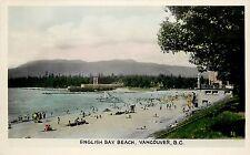 1940s Hand-Colored RPPC Postcard; English Bay Beach, Vancouver BC Canada