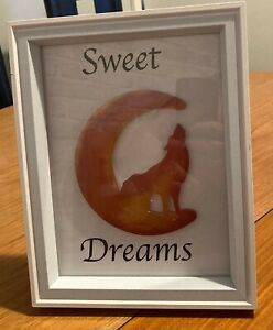 Crescent Moon and Wolf Framed Resin Art With Quote for Bedroom Handmade