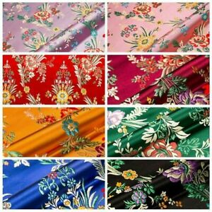 Satin Faux Silk Fabric Chinese Begonia Floral Damask Brocade Bag Clothes Retro