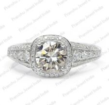 Simulated Moissanite Halo Ring 925 Sterling Silver 1.5 Ct