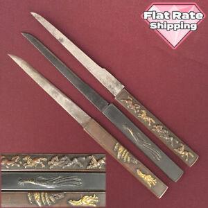 D1405 Japanese Edo Samurai Good value SHAKUDO KOZUKA 3pcs SET katana koshirae