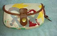 Dooney & Bourke Splatter Paint / Graffiti Canvas & Leather Wristlet
