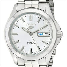 Seiko 5 White Dial Automatic Watch, 38mm Stainless Steel Case, Bracelet #SNKK87