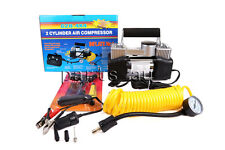12V DC 25A 4x4 Portable Air Compressor 150 PSI Car Tire Inflator Twin Cylinders