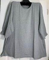 Pure J Jill women Plus size 1XL stretch cotton Ballet sleeve Tee Top gray New