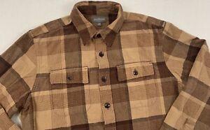 ll bean signature chamois cloth plaid brown archive flap pocket shirt slim large