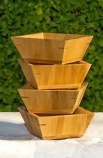 NEW 4 Piece Square Bamboo Wood Bowl Entertaining & Serving Bowl Set- Home Decor
