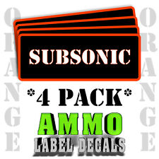 """SUBSONIC Ammo Label Decals for Ammunition Case 3"""" x 1"""" Can stickers 4 PACK -OR"""
