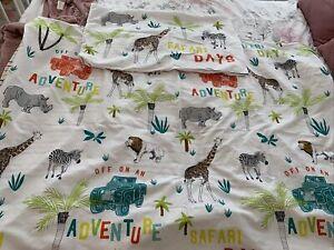 Primark Boys Single Bed Set Cover Safari Animals Reversible Striped