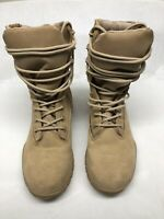Belleville USA Lace Up Military Boots Tan Suede Steel Toe Vibram Size 5.5 R