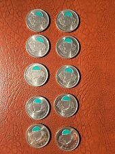 Set of 10* Green Colored Wood Bison 25 c Coins of The 2011 Parks Canada Series