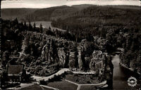 Horn Lippe s/w Postkarte 1956 Blick auf die Externsteine Panorama Wald Luftbild
