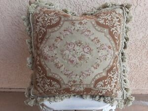 """Wool French Aubusson ROSES Petit Needlepoint Pillow Cover W/Tassels ~ 20"""" x 20"""""""