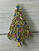 Vintage Ornate Gold Tone & Rhinestone Holiday Christmas Tree Brooch Pin