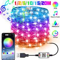 Christmas Tree Decor RGB LED String Lights Smart bluetooth App Remote Control R