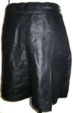 Pristine CHANEL black pleated skort short linen silk wet leather look M 42 44