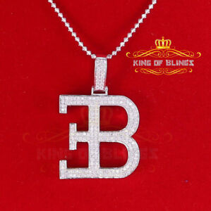 10K White Gold Finish Silver B Pendant with W/ Cubic Zircon Diamonds