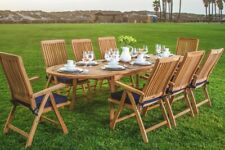 11-Pc Outdoor Teak Dining Set: 94� Oval Extn Table, 10 Reclining Arm Chairs Mar
