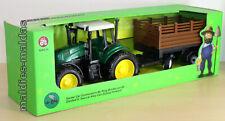 Traktor grün mit Anhänger braun ca. 42 cm Farm NEU/OVP