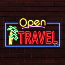 """Brand New """"Open Travel"""" w/Border 37x20X1 Inch Led Flex Indoor Sign 35589"""
