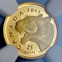 2011 CANADA GOLD COUGAR 0.5grams .999 FINE, NGC PF-70 UCAM LOW MINTAGE, POP 7