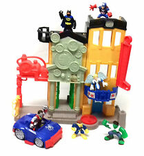 Imaginext City Playset with Batman & Marvel Superheroes toy action figures lot