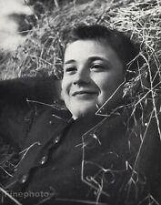 1960 Vintage CUTE FRENCH BOY Straw Hay Portrait Male 8x10 Photo Art JOS LE DOARE