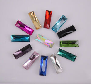 100 Pcs Color Glass Crystal Rectangle Rhinestone Jewels Faceted