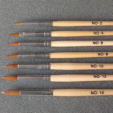 Professional Round Sable Acrylic Nail Art Brush Various Size 2 4 6 8 10 12 14 UK