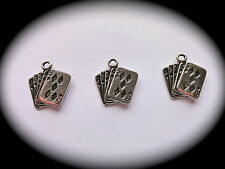 Pack of 3 METAL CHARMS - PLAYING CARDS (ace-5) for Multi-purpose Crafts