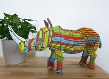 Handmade and Beaded Multi-colour African Rhino Sculpture, Glass beads - 40cm