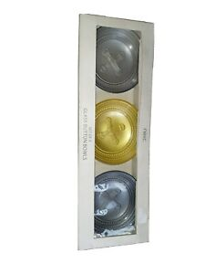 NEXT SET OF 3 GLASS BUTTON SHAPED DESIGN BOWLS NEW UNUSED BNIB Free UK Postage
