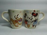 Disney Store Exclusive Mickey Minnie Mouse Pluto Dancing Coffee Mug Cup Set of 2