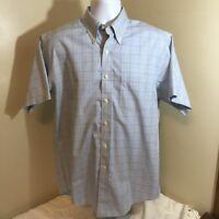 Brooks Brothers 346 Original Polo Shirt All Cotton Non-Iron Blue Check Medium FS
