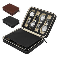 2/4/8 Slots Leather Watch Storage Case Portable Travel Wristwatch Box Organizer