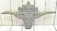 TEXAS STAR LONGHORN CAST IRON WALL PLAQUE DECOR, HOME, BARN, RANCH, WALL SIGN