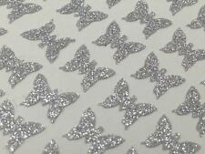 91 Sticky Self Adhesive Glittery Silver BUTTERFLY Stickers 8 x 7mm