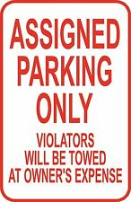 "New No Parking Assigned Parking Only Sign 12"" x 18"" Aluminum Metal Road #12"