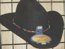 New Bull Hide Cowboy Hat Black Wool Detailed Barbwire Band  size  7