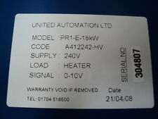 United Automation Series Power Controller L71006 Model PR1-E-1-18KW