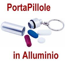 PORTA PILLOLE Pasticche PASTIGLIE ALLUMINIO GRIGIO ARGENTO SETTIMANALE Medicine