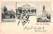 Gruss aus Dramburg Kirche Denkmal Panorama Postkarte 1900