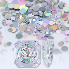 Mixed Size Holo Silver Laser Nail Art Sequins UV Gel Stickers Decoration Tips