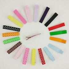 20pcs  DIY Crafts Covered Grosgrain Ribbon Hair Clips Safe for Baby Girls 4.8cm